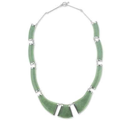 Fair Trade Sterling Silver And Maya Jade Link Necklace