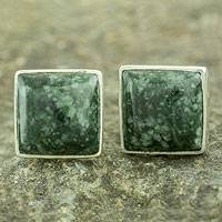 Jade button earrings, 'Forest Mystique'