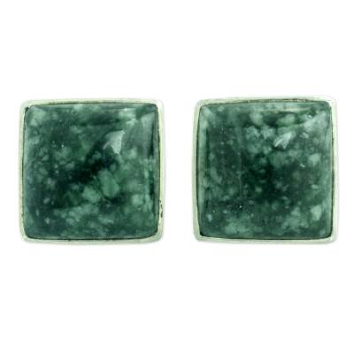 Classic Silver Button Earrings with Green Maya Jade