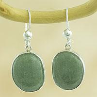 Jade dangle earrings, 'Yaxha Light'