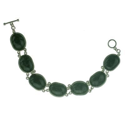 Green Oval Jade and Sterling Silver Handmade Link Bracelet