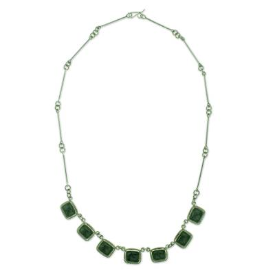 Artisan Crafted Guatemalan Jade and Silver Pendant Necklace