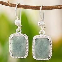 Jade dangle earrings, 'Green Nuances' - Guatemala Artisan Crafted Jade and Sterling Silver Earrings