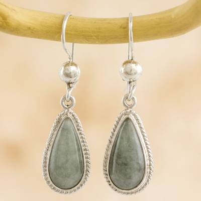 Jade dangle earrings, 'Mint Tear' - Hand Crafted Sterling Silver Mint Green Jade Dangle Earrings
