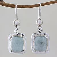 Jade dangle earrings, 'Maya Mint' - Fair Trade Mint Green Jade and Silver Earrings