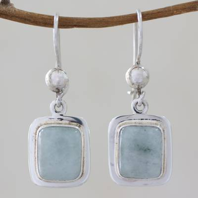 Jade dangle earrings, Maya Mint
