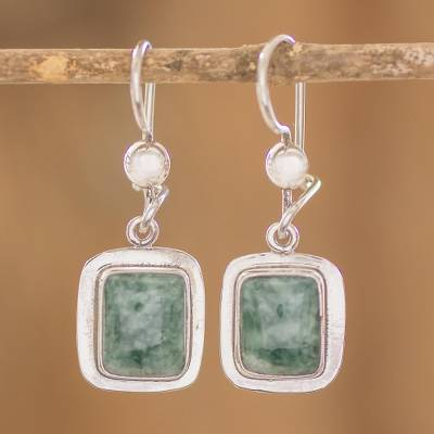 Jade dangle earrings, Modern Maya
