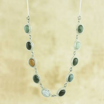 Jade and quartz pendant necklace, Jocotenango Rainbow