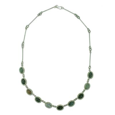 Sterling Silver Necklace with Multicolor Jade and Quartz
