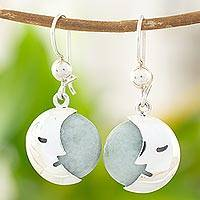 Jade dangle earrings, 'Cool Crescent Moon' - Light Green Jade Moon Eclipse Handcrafted Earrings