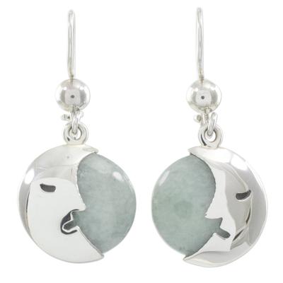 Light Green Jade Moon Eclipse Handcrafted Earrings