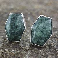 Jade button earrings, 'Green Maya Cornerstone' - Artisan Crafted Silver and Green Jade Button Earrings