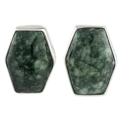 Artisan Crafted Silver and Green Jade Button Earrings