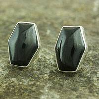 Jade button earrings, 'Black Maya Cornerstone' - Artisan Crafted Silver and Black Jade Button Earrings