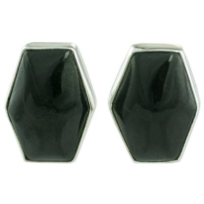 Artisan Crafted Silver and Black Jade Button Earrings