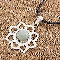 Jade pendant necklace, 'Apple Blossom' - Sterling Silver and Jade Pendant with Leather Necklace