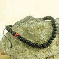 Men's beaded bracelet, 'Midnight Passion' - Black and Red Beaded Wood Drawstring Bracelet for Men