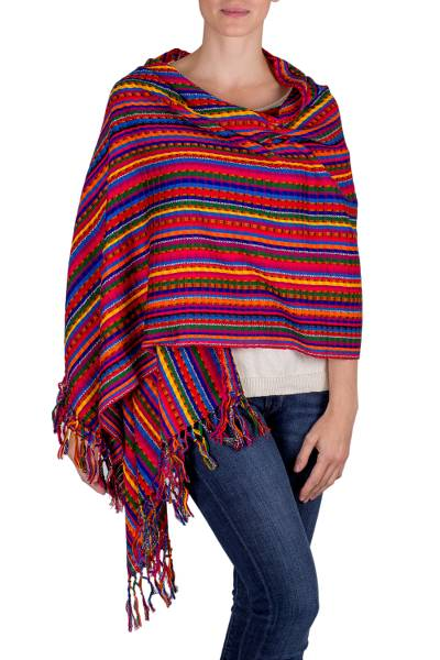 Cotton shawl, 'Valley of Flowers' - Guatemalan Hand Woven Cotton Shawl in Primary Colors