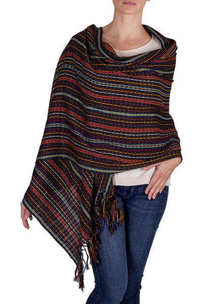 Cotton shawl, 'Valley at Night' - Hand Woven Cotton Shawl from Guatemala