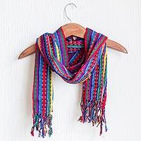 Cotton scarf, 'Valley of Flowers' - Guatemalan Hand Woven Cotton Scarf in Primary Colors