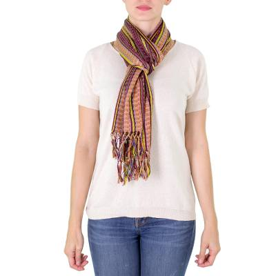 Cotton scarf, 'Valley in Autumn' - Guatemalan Hand Woven Cotton Scarf