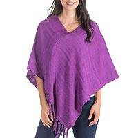 Cotton poncho, 'Passion Fruit' - Hand Crafted Guatemalan Purple Cotton Poncho