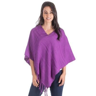 Hand Crafted Guatemalan Purple Cotton Poncho