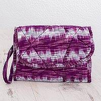 Cotton wristlet bag, 'Amethyst Twilight' - Purple Cotton Hand Woven Multi Pocket Wristlet Bag