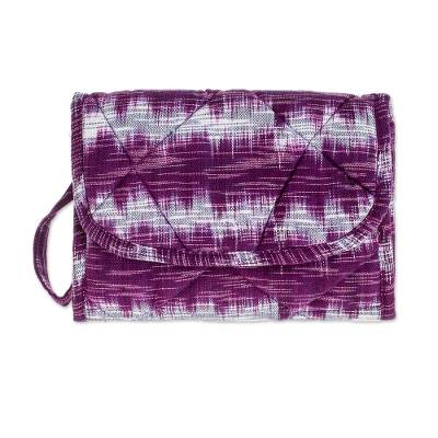 Purple Cotton Hand Woven Multi Pocket Wristlet Bag