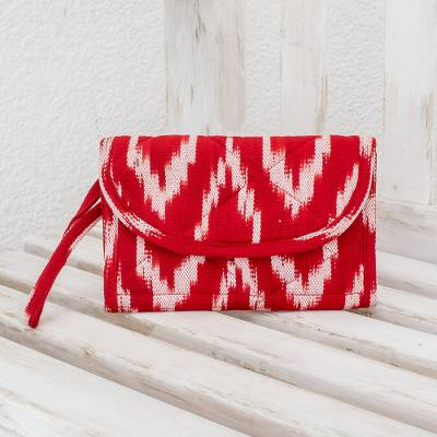 Cotton wristlet bag, 'Ruby Maya' - Hand Made Central American Red Cotton Wristlet Bag