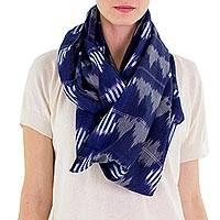 Cotton infinity scarf, 'Midnight Maya' - Dark Blue Patterned Infinity Scarf in Hand Woven Cotton