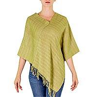 Cotton poncho, 'Organic Forest' - Green Organic Dyes Handwoven Cotton Poncho from Guatemala