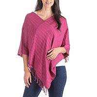 Cotton poncho, 'Organic Blossom' - Guatemalan Red Organic Dyes Hand Woven Cotton Poncho