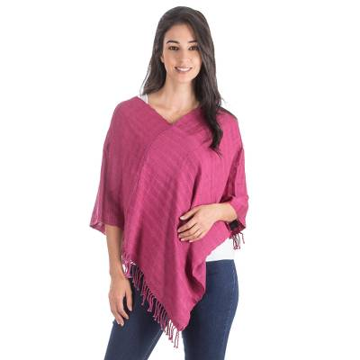 Guatemalan Red Organic Dyes Hand Woven Cotton Poncho