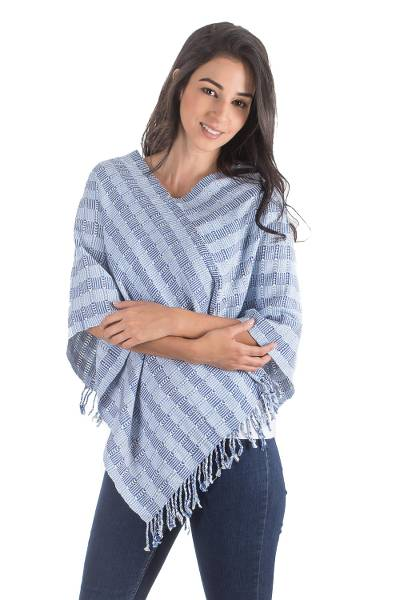 Handwoven Blue and White Cotton Poncho