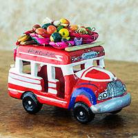 Ceramic sculpture, 'Bus to Honduras' - Ceramic Bus Figurine in Primary colours Handmade in Guatemal