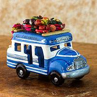 Ceramic sculpture, 'Bus to El Salvador' - Handmade Blue and White Ceramic Bus Figurine