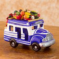 Ceramic sculpture, 'Bus to Costa Rica' - Hand Made Guatemala Chicken Bus Ceramic Replica Sculpture