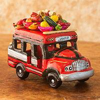 Ceramic sculpture, 'Bus to Santa Cruz del Quiche' - Guatemalan Chicken Bus Ceramic Sculpture Crafted by Hand