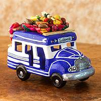 Ceramic sculpture, 'Bus to Chichicastenango' - Blue and White Ceramic Chicken Bus Figurine from Guatemala