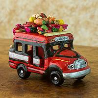 Ceramic sculpture, 'Bus to El Salvador II' - Red and Green Ceramic Chicken Bus Figurine from Guatemala
