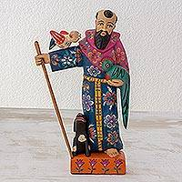 Pinewood sculpture, 'Saint Francis with a Quetzal' - St Francis with a Quetzal Bird Rustic Folk Art Handcrafted A