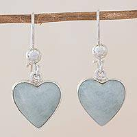 Jade heart earrings, 'Innocent Heart' - Sterling Silver Heart Earrings with Light Green Jade