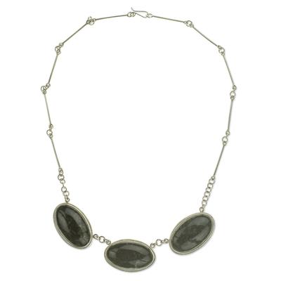 Handmade Reversible Dark Green Jade Maya Pendant Necklace