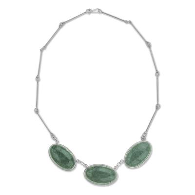 Handmade Reversible Light Green Jade Maya Pendant Necklace