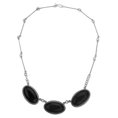 Handmade Reversible Black Jade Maya Pendant Necklace