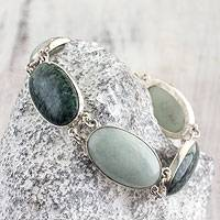 Jade link bracelet, 'From the Queen' - Light Green and Forest Green Jade and Silver Bracelet