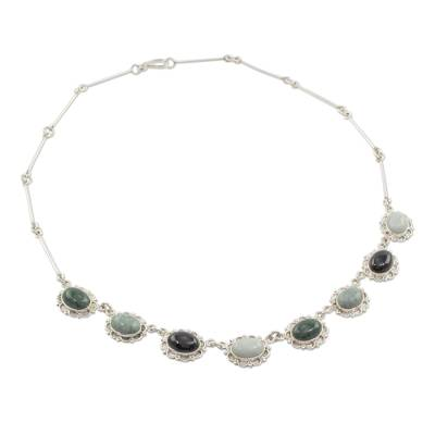 Guatemalan Hand Crafted Multi Color Jade and Silver Necklace