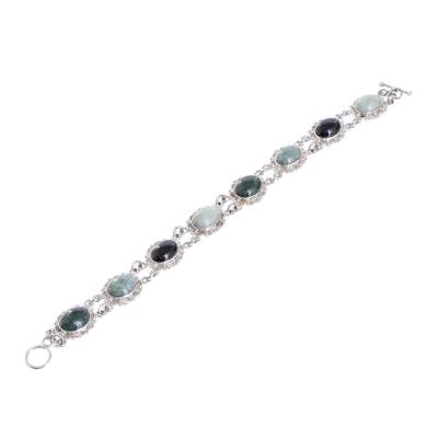 Guatemalan Hand Crafted Multi Color Jade and Silver Bracelet