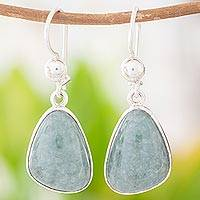 Jade dangle earrings, 'Forest Green' - Handcrafted Sterling Silver Forest Green Jade Earrings